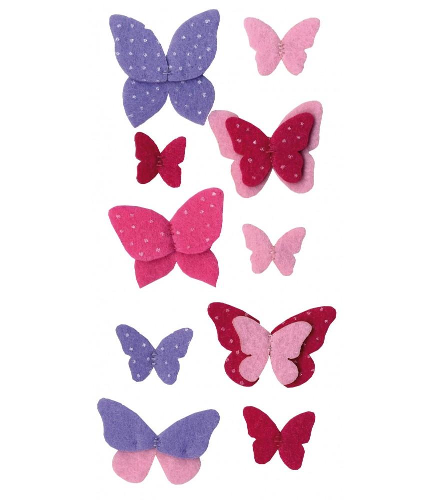 Pack 10 mariposas de fieltro precosidas