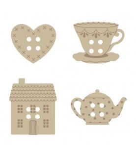 Comprar Pack de 24 botones madera té de Conideade