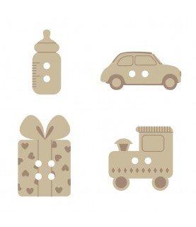 Pack de 24 botones madera bebe