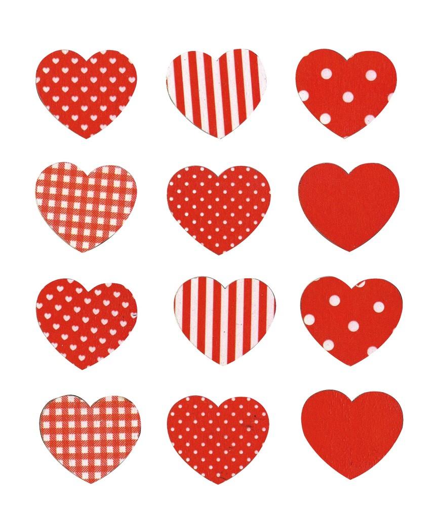 Set de 12 corazones adhesivos de madera para decorar