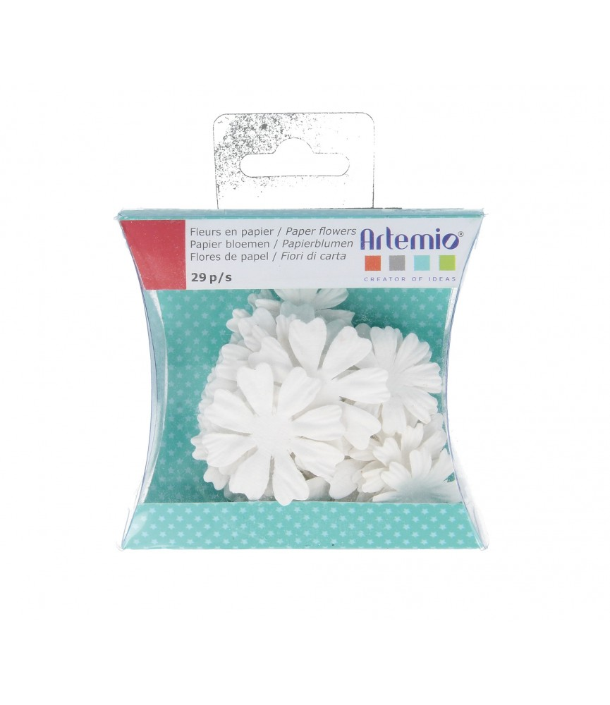 Caja de 29 flores de papel para pintar y decorar