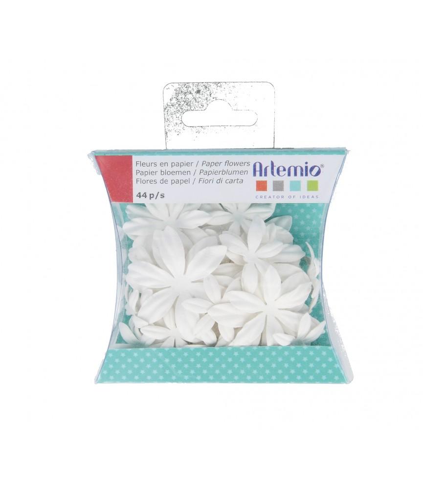 Caja de 44 flores de papel para pintar y decorar