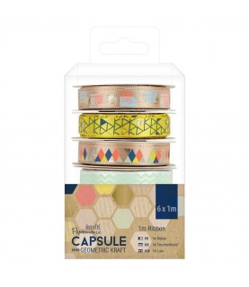 Pack 6 cinta mod geometric Kraft para decorar en scrap, tarjeteria o cualquier manualidad