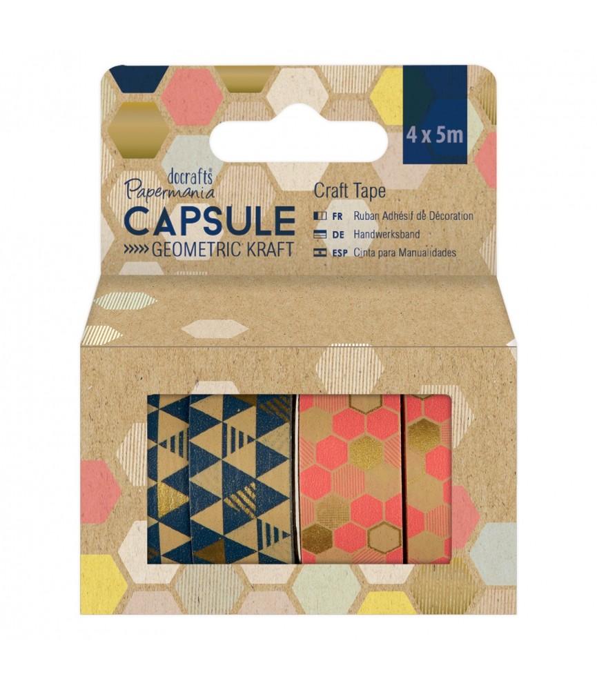 Pack 4 rollos de whasi tape geometric Kraft