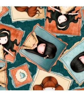 Comprar Tela muñecas gorjuss azul Heartfelt de Conideade