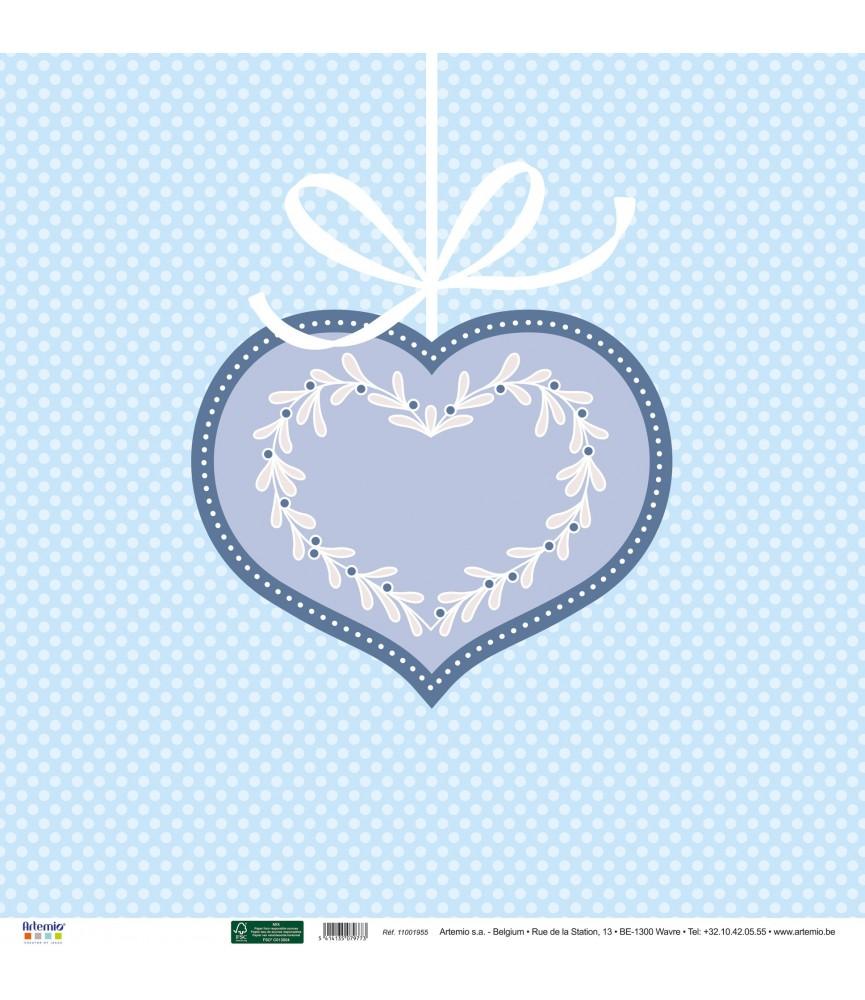 Papel 30x30 corazón de navidad
