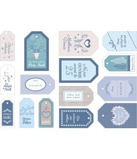 Set de 15 etiquetas navidad mod blue