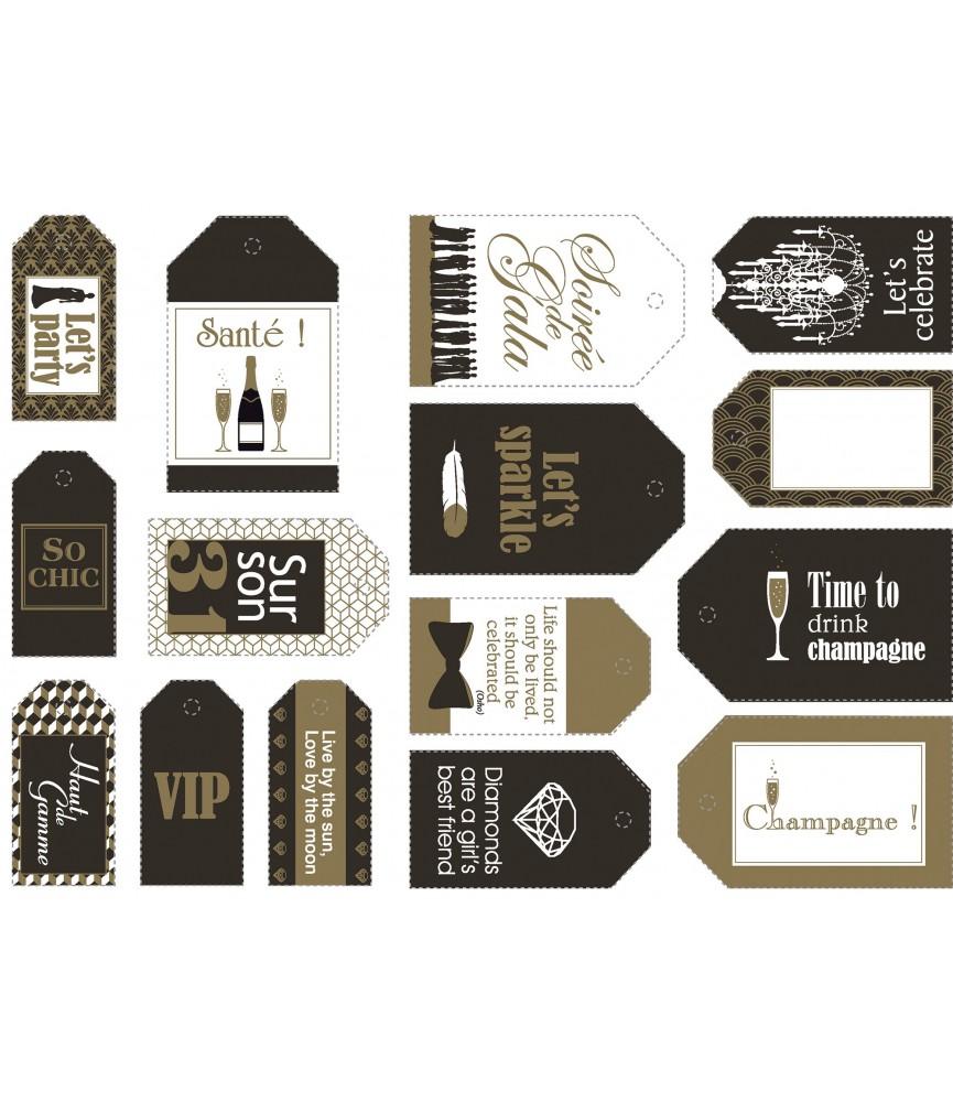 Set de 15 etiquetas mod gold