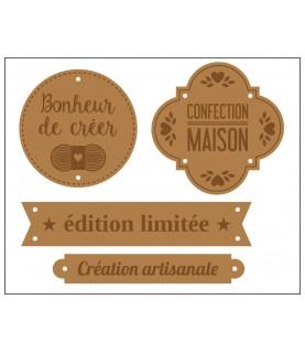 Imagén:  Pack 4 Etiquetas de cuero marrón