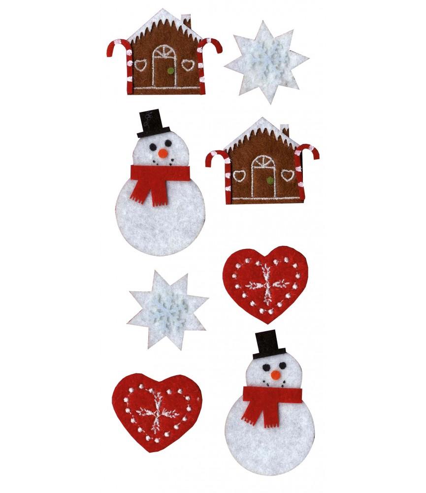 Pack 12 figura de fieltro pre cosido navidad