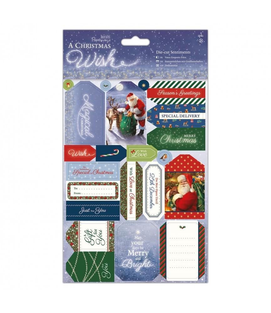Pack 2 hojas con etiquetas troqueladas christmas wish