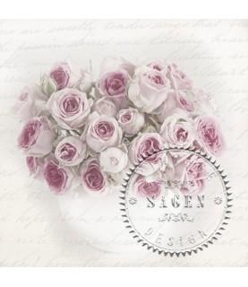 Servilleta Vintage pink roses in vase 33x33cm