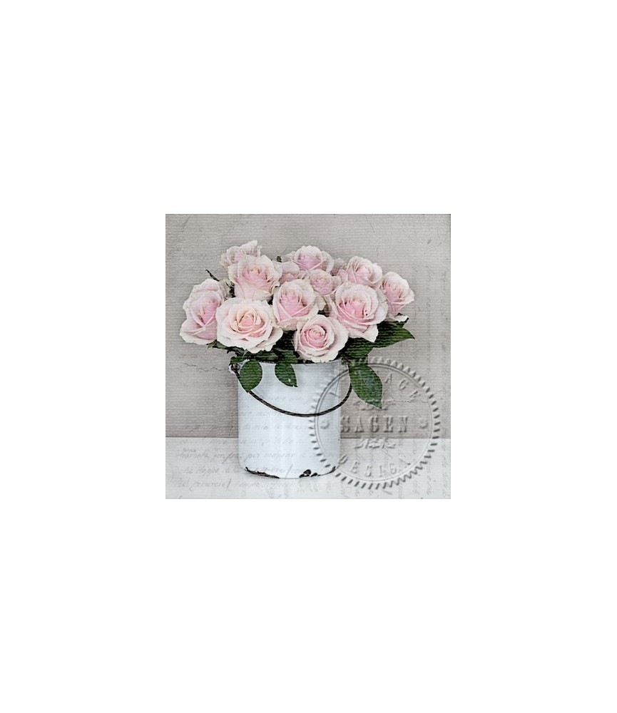 Servilleta Vintage bucket with roses 33x33cm