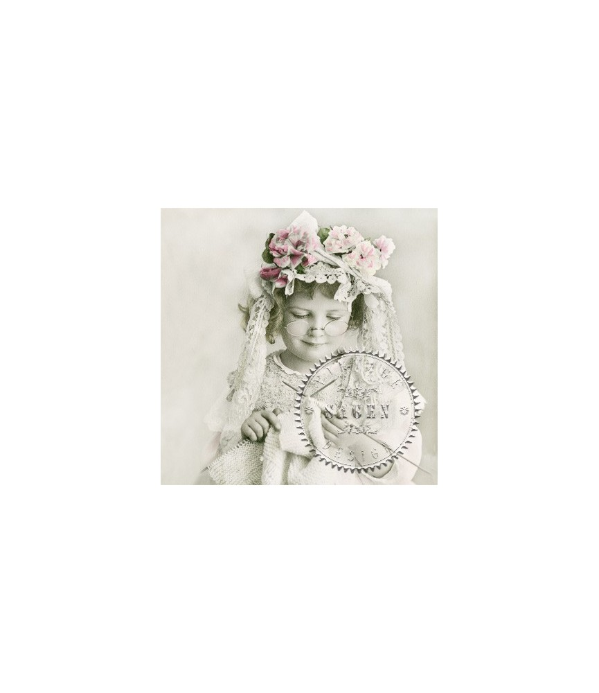 Servilleta Vintage knitting girl 33x33cm