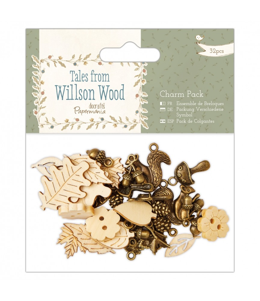Pack 32 colgantes y botones Willson Wood
