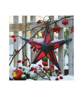 Imagén: Servilleta estrella roja de navidad 33x33cm