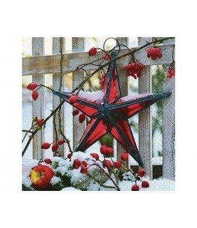 Comprar Servilleta estrella roja de navidad 33x33cm de Conideade