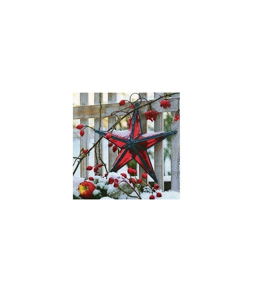 Servilleta estrella roja de navidad 33x33cm