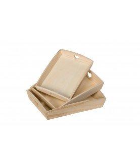 Pack 3 bandejas de madera corazón