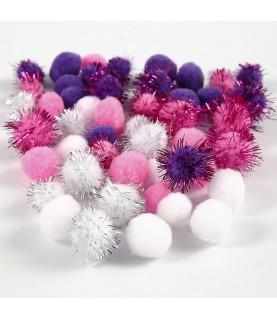 Imagén: Bolsa 48 pompones tonos rosa, morado y blanco