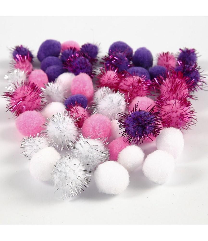 Bolsa 48 pompones tonos rosa, morado y blanco