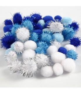 Imagén: Bolsa 48 pompones tonos azul y blanco