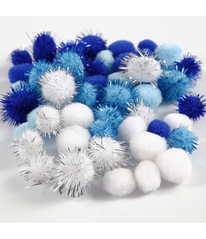 Bolsa 48 pompones tonos azul y blanco