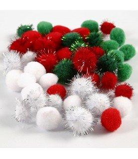Bolsa 48 pompones tonos rojos, verde y blanco