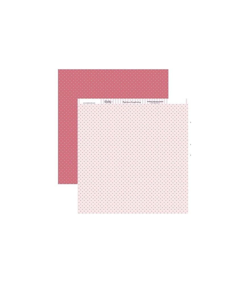 Papel scrap puntos rosas 30x30