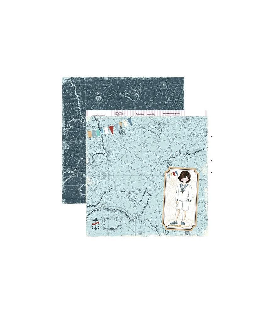 Papel scrap niño comunión mapa 30x30cm