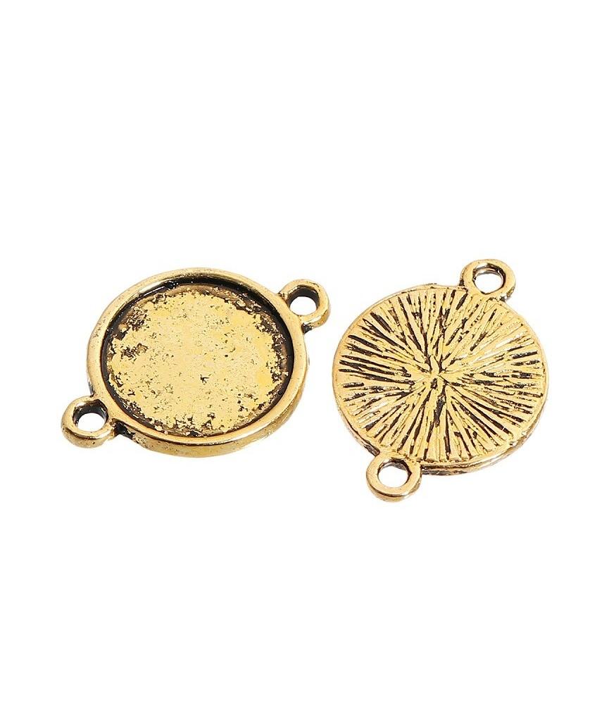 Conector base de camafeo 12 mm dorado