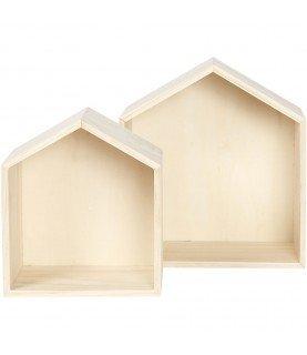 Set de 2 casas de madera de pino