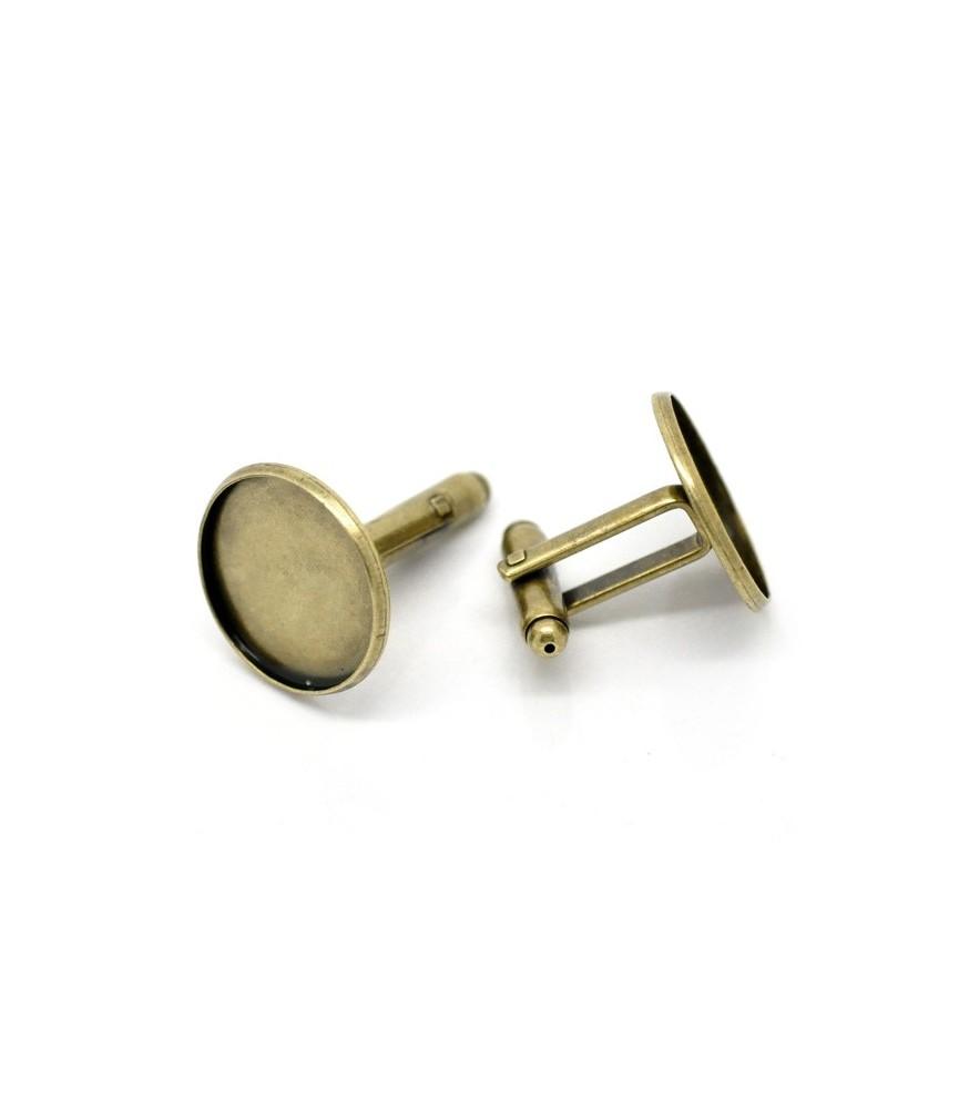 Par de gemelos para cabuchon de 18 mm bronce