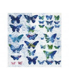 Servilleta Mariposas azules 33x33 cm