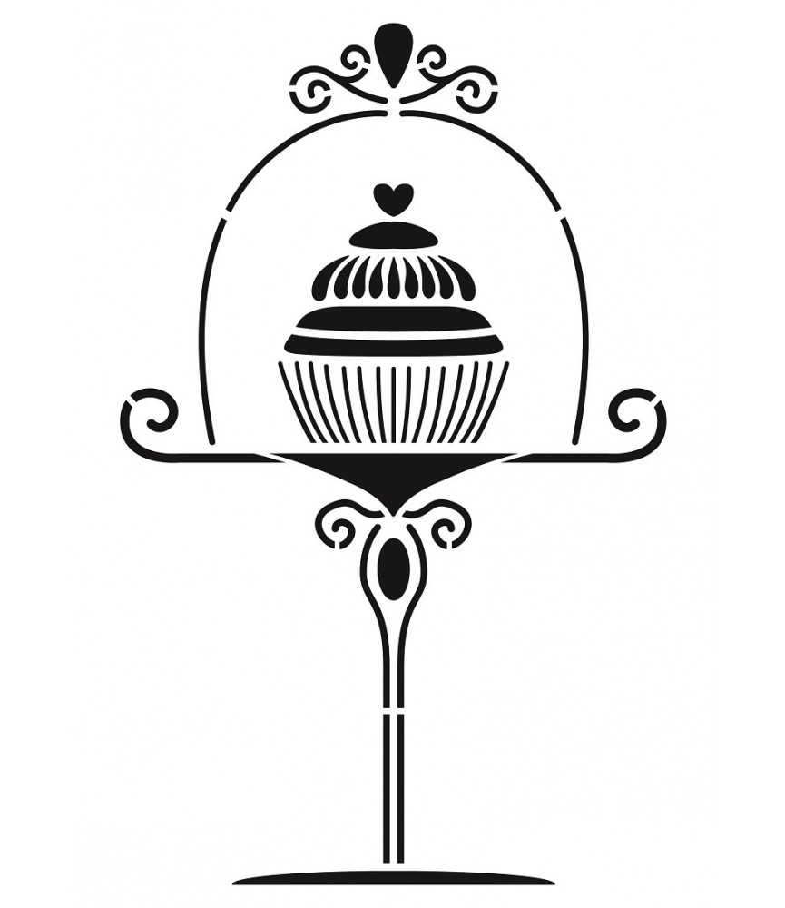Plantilla stencil A4 Cupcake