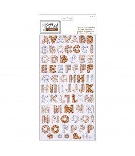 Alfabeto de carton auto adhesivo Wood
