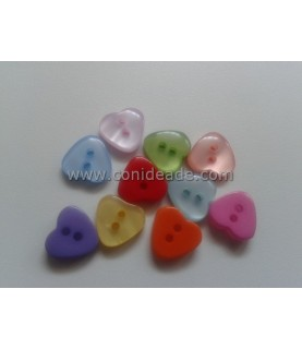 Pack 10 botones con forma de corazon 11mm
