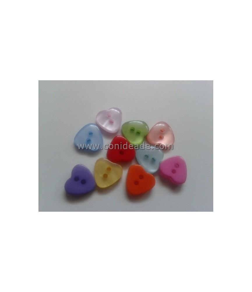 Pack 10 botones con forma de corazon 11mm
