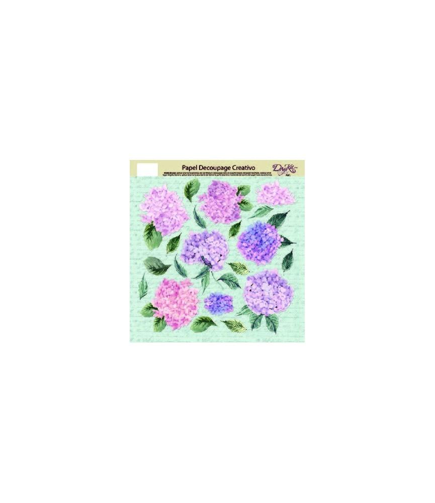 Papel decorativo para pegar hortensias