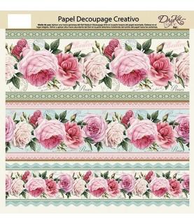 Imagén: Papel decorativo para pegar cenefa rosas