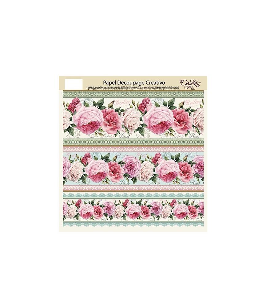 Papel decorativo para pegar cenefa rosas