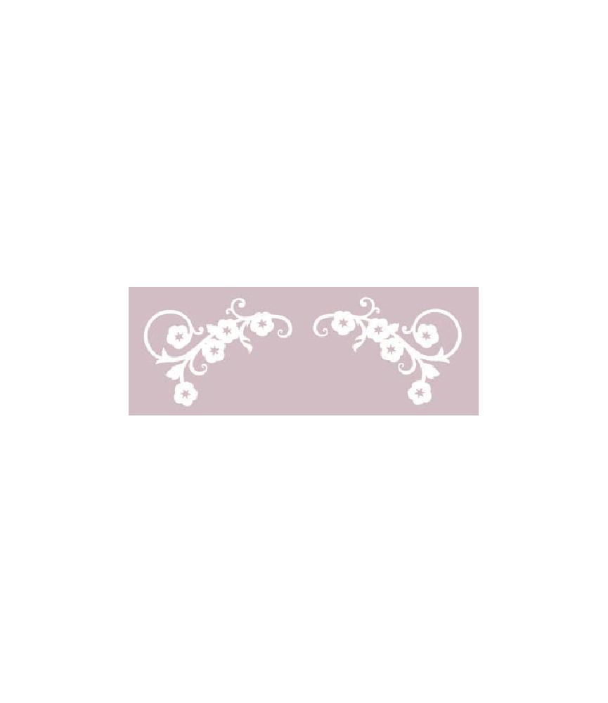 Silueta carton blanco 2 esquineras flor
