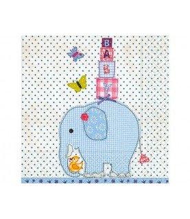 Servilleta elefante azul 33x33 cm