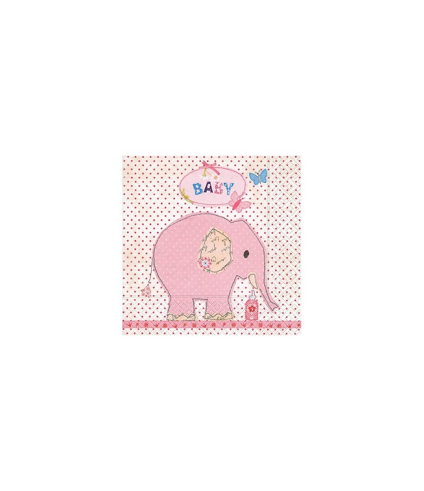 Servilleta elefante rosa 33 x 33 cm