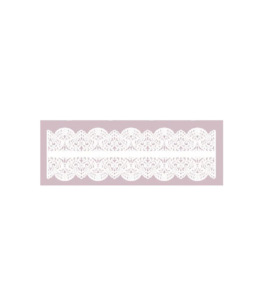 Silueta carton blanco puntilla doble