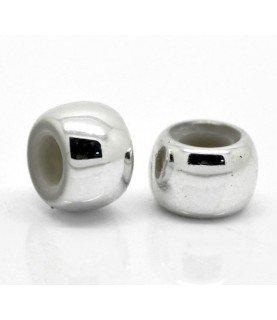 Cuenta acrilica plata 9x6 mm