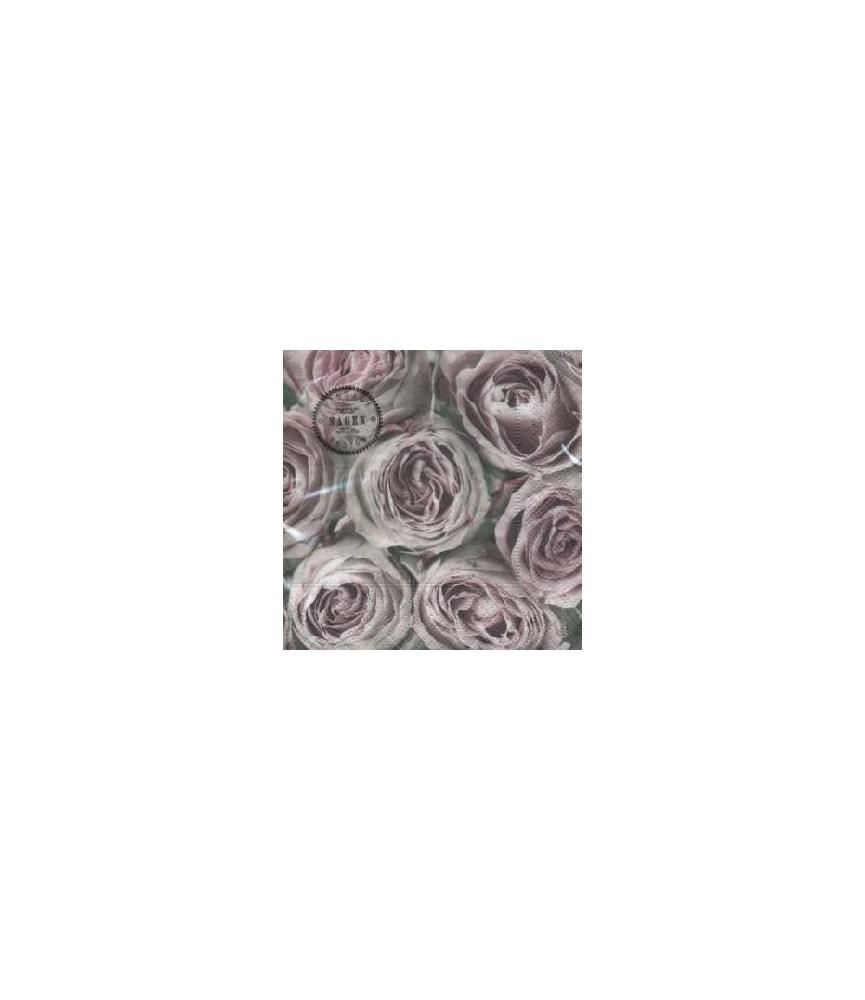 Servilleta vintage pink roses 33 x 33cm