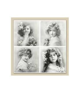 Servilleta vintage 4 flowers girls 33 x 33cm