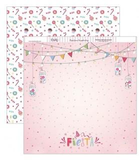 Imagén: Papel scrap fiesta rosa 30,5 x 30,5 cm