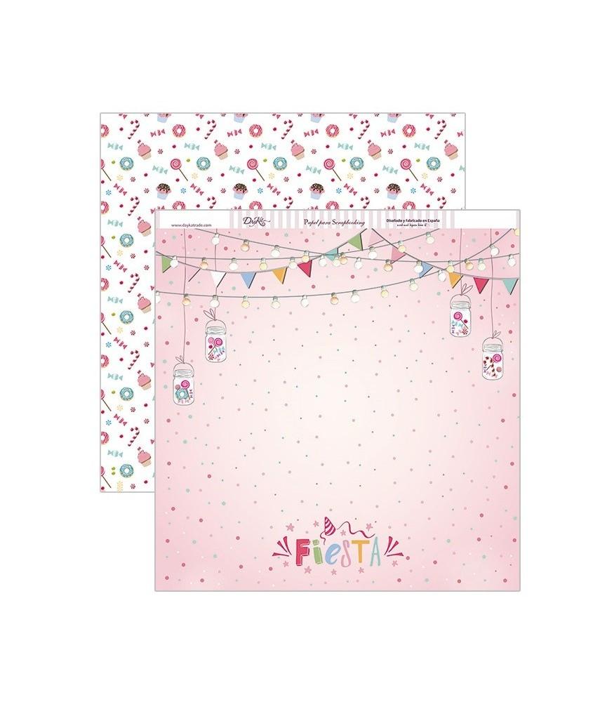 Papel scrap fiesta rosa 30,5 x 30,5 cm